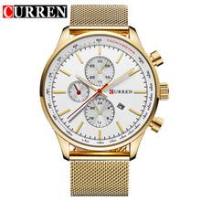 CURREN nowe złote zegarki męskie zegarki kwarcowe Top marka luksusowe zegarki zegarek biznesowy męski stalowy pasek Relogio Masculino tanie tanio 23cminch Moda casual QUARTZ 3Bar Klamra z haczykiem STAINLESS STEEL 11mmmm Hardlex 44mmmm 8227 22mmmm ROUND Kompletny kalendarz