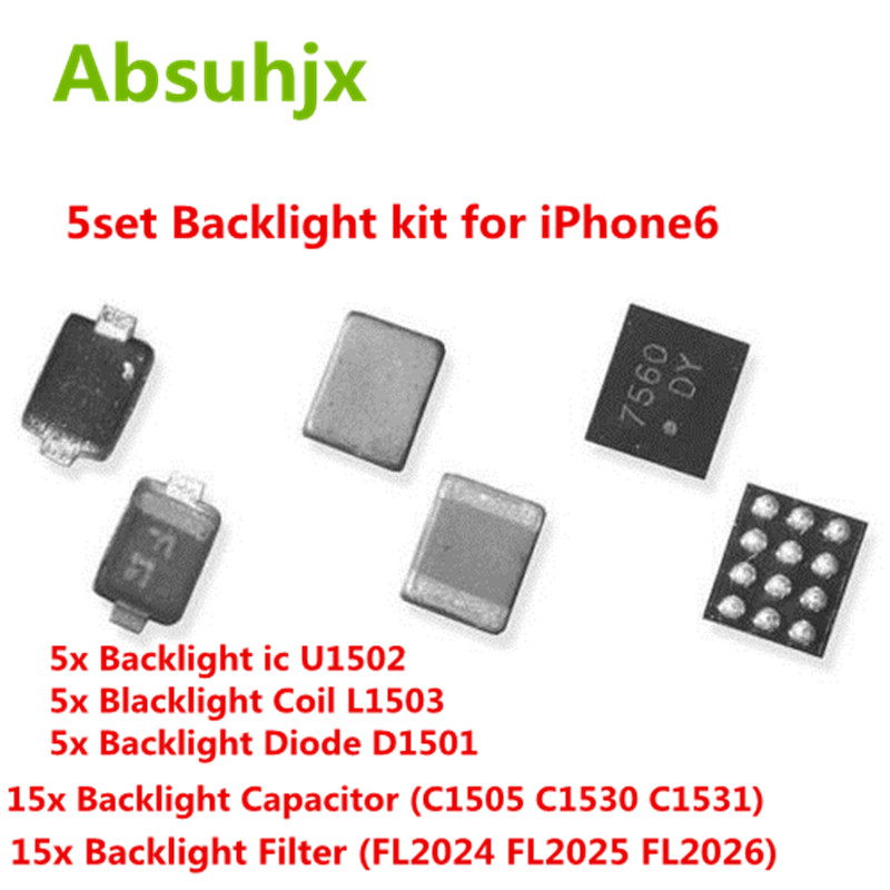 Absuhjx 5set Backlight Set Solution Kit ic for iPhone 6 6Plus U1502 Coil L1503 Diode D1501 Capacitor C1530 C1505 Filter FL2024Mobile Phone Circuits   -
