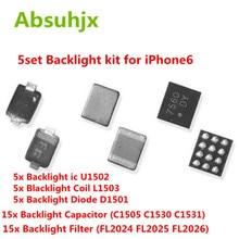 Absuhjx 5set 백라이트 세트 솔루션 키트 ic for iphone 6 6 plus u1502 코일 l1503 다이오드 d1501 커패시터 c1530 c1505 필터 fl2024