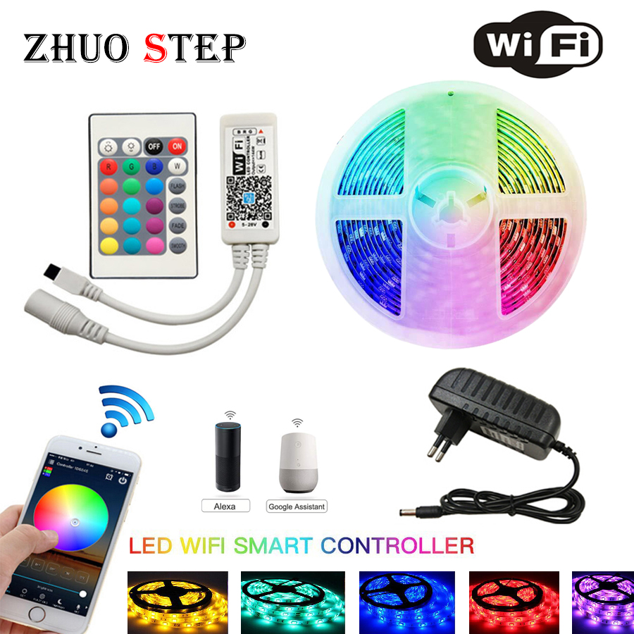 WIFI IR LED Strip Waterproof 5M 15M 20M RGB Led Strip Light Ribbon Tape Controller Adapter 5050 RGB 30 Leds /M Flexible Lighting