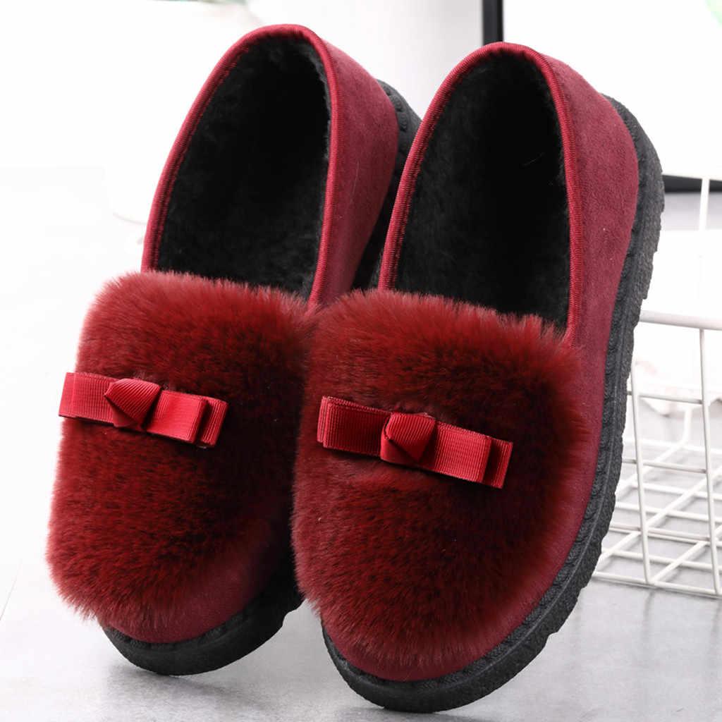 SAGACE 2019 Yeni bezelye ayakkabı kış peluş ayakkabı yaylar botları sıcak konfor bayanlar Batı dikiş ipliği düz alt loafer'lar