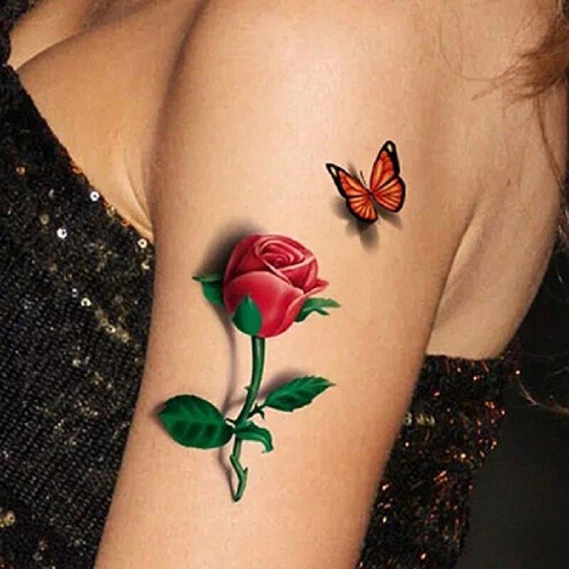 3D Temporary Removable Waterproof Colorful Body Art Butterfly Flower Tattoo Sticker 3D Butterfly Rose Flower for Women Body