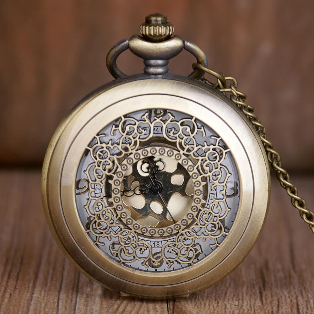 Retro Vintage Pocket Watches Fashion Hollow Pattern Quartz Pocket Watches Pendent Necklace Chain Watches Clock For Men Women