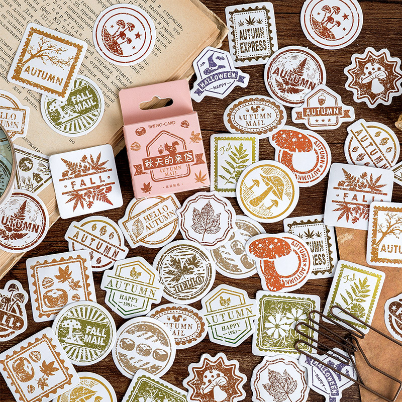 45 Pcs/Box Vintage Autumn Letters Postmark Mini Decoration Paper Sticker Decoration DIY Album Diary Scrapbooking Label Sticker