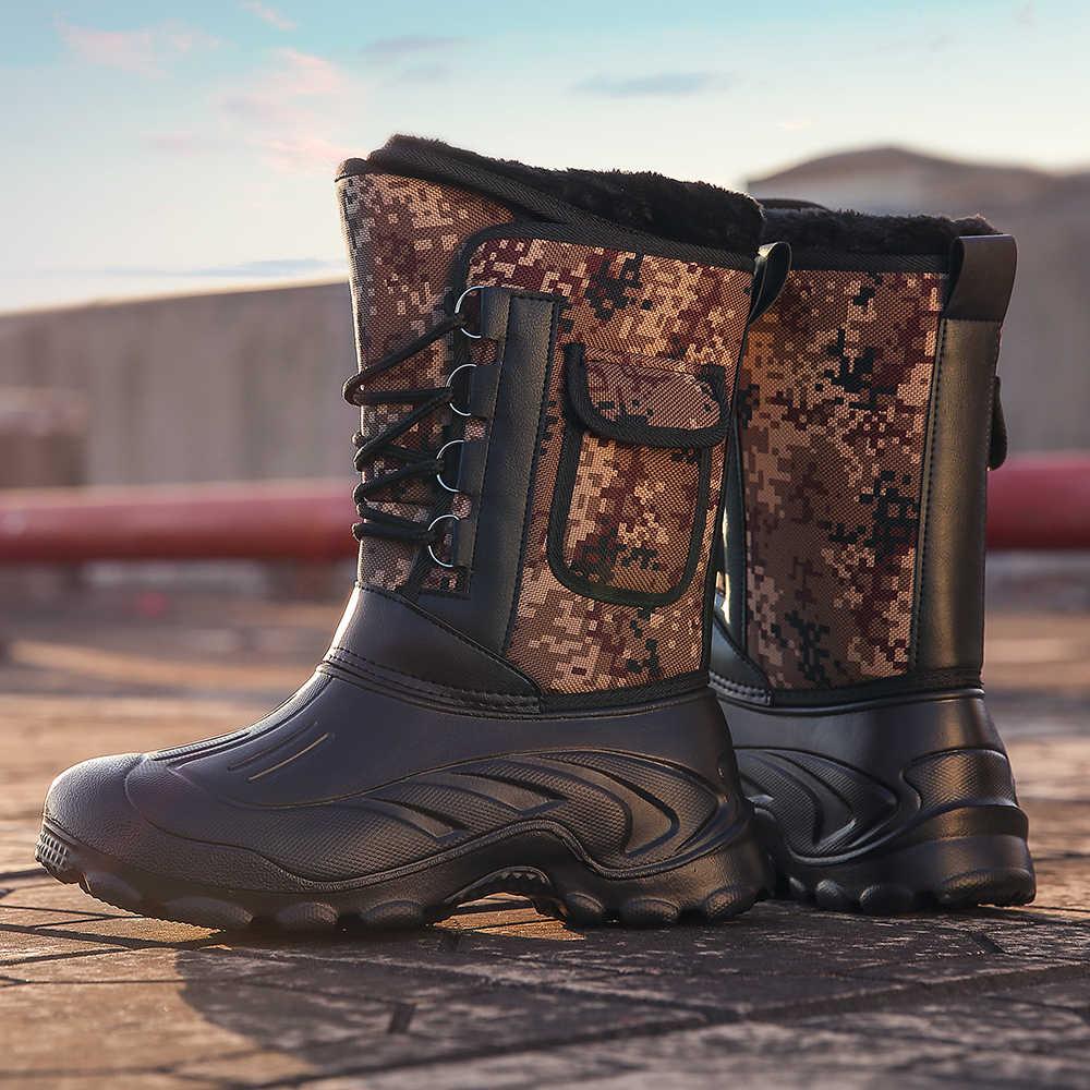 2020 warme Winter Stiefel Männer Wasserdicht Turnschuhe Komfortable Outdoor Schnee Arbeit Stiefel Männlichen Slip auf Schuhe Männer Schuhe Angeln Stiefel