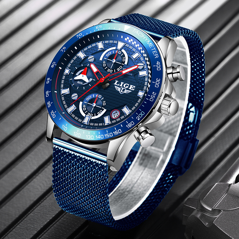 2019 New Blue Men Watches <font><b>LIGE</b></font> Top Luxury Brand Simple Stainless Waterproof Wristwatch Automatic Date Clock Relogio Masculino image