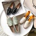 ENNIS moda Primavera barco zapatos mujeres charol Casual zapatos hebilla diseñador plano Loafer verde Zapatos negro Beige nuevo C0017