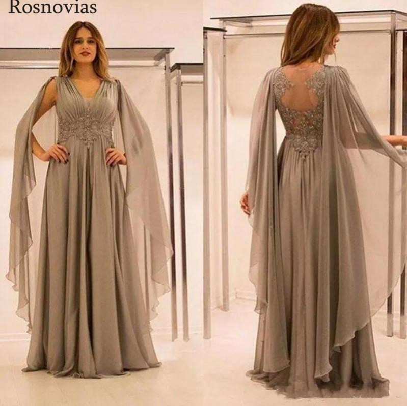 New Chiffon Mother Of The Bride Dresses 2020 V Neck Illusion Back Sweep Train Lace Appliques Beaded Mother Wedding Guest Gowns