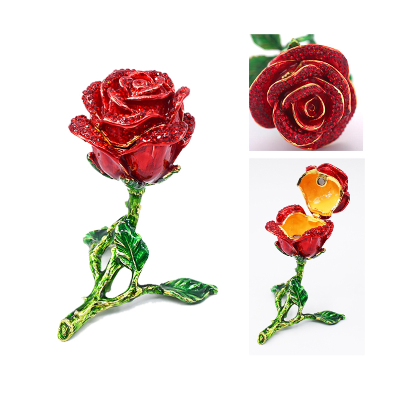New Fashion Necklace Rings Earrings Gift Box Alloy Enamel Small Rose Flower Jewelry Box Valentine's Day Gifts Drop Shipping