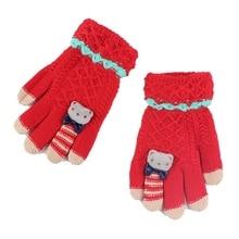 Зимние Детские перчатки, теплые вязаные толстые варежки с медвежонком, Мультяшные перчатки, Детские От 4 до 8 лет