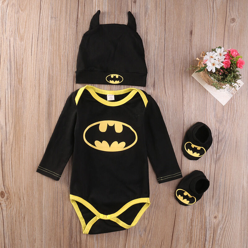 Pudcoco Fashion Boy Jumpsuits Newborn Baby Boy Girl Clothes Batman Rompers+Shoes+Hat Costumes 3Pcs Outfits Set