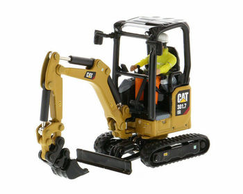 Diecast Masters 1/50 Scale Cat 301.7 CR Next Generation Mini Hydraulic Excavator with Work Tools 85597 caterpillar cat m316d wheel excavator 1 50 model by diecast masters 85171