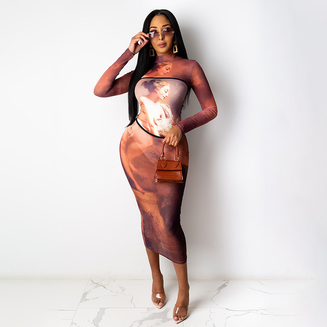 Hawthaw Women Fashion Autumn Winter Long Sleeve Printed O Neck Bodycon Slim Pencil Long Dress 2021 Fall Clothes Streetwear 4