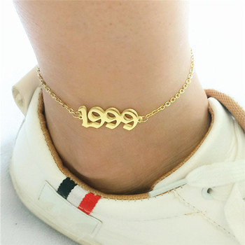 Anklet Chain For Women Custom Birthday Gift 1999 Old English Number Anklets Stainless Steel Jewelry Birth Year Enkelbanden