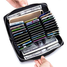Split leather wallet passport RFID long large capacity organ mobile phone multi function unisex card holder cards wallet