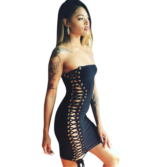 European and American woman sex appeal double - side lace-up  wrap bosom slim dress 2