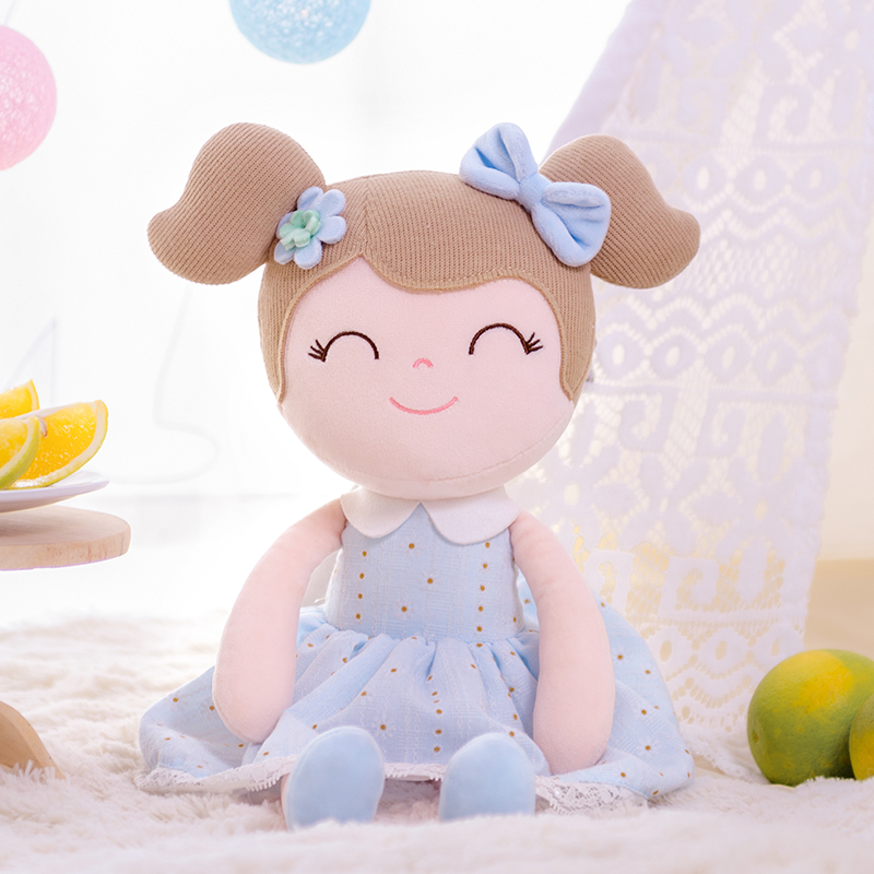 Gloveleya Plush Dolls Spring Girl Baby Doll Gifts Blue Cloth Dolls Kids Rag Doll Plush Toys Kawaii