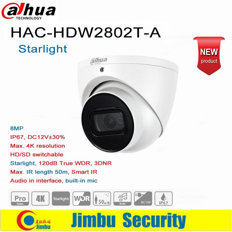 Dadua 8MP 4K Starlight HDCVI IR Eyeball Camera HAC-HDW2802T-A  Built-in Mic IR Length 50m HD/SD Switchable  IP67, DC12V±30%