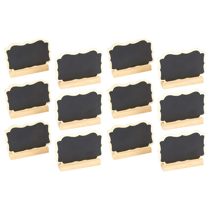 12 Mini Chalkboard Signs Stand-Chalkboard Place Cards Message Board Weddings,Table Top Numbers,Food Signs,Kids' Crafts Event Dec
