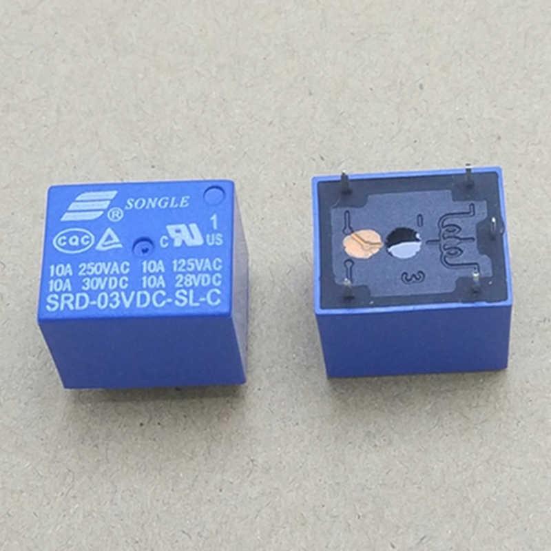 10Pcs SONGLE Mini 12V DC Power Relay SRD-12VDC-SL-C PCB Type