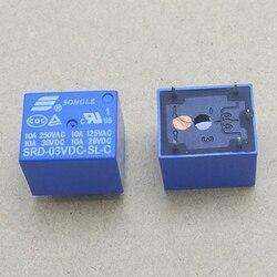 10 шт., реле постоянного тока, 3 в, 5 контактов, мини-реле питания, Тип печатной платы, высокое качество