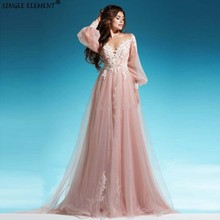 New Arrival Long Sleeve Tulle Champagne Applique Lace Bohemian Country Wedding Dresses Discount 2019
