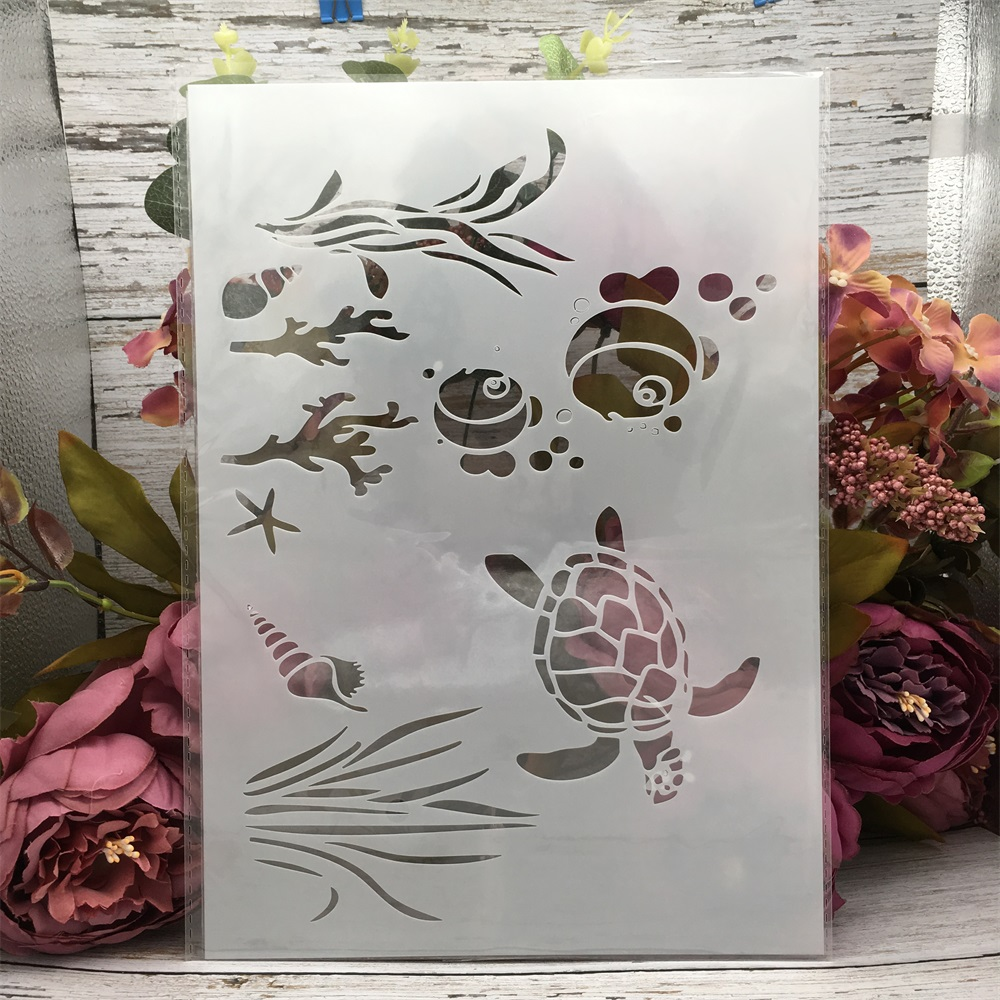29*21cm A4 Fish Turtle Water DIY Layering Stencils Wall Painting Scrapbook Coloring Embossing Album Decorative Template
