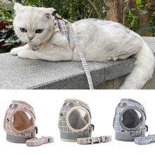 Coleira e coleira reflexiva para gatos, coleira e coleira para gatos, produtos para animais de estimação, malha de gatos, acessórios szelki kota