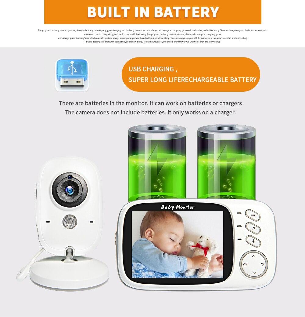 Vídeo em cores sem fio Baby Monitor