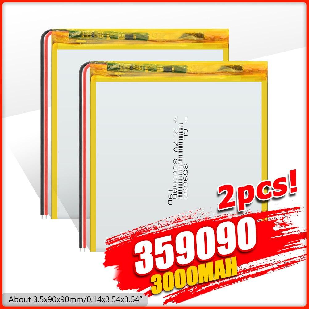 1/2/4 pièces 359090 Lithium polymère Li Po batterie 3.7v 3000mah Rechargeable pour tablette Ipad Psp GPS MP3 MP4 MP5 E-book batterie dalimentation