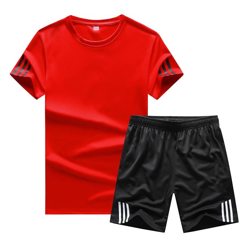 Summer Thin Section Men Crew Neck Stripes Solid Color Short Sleeve Shorts Two-Piece Set Large Size Leisure Suit Men's