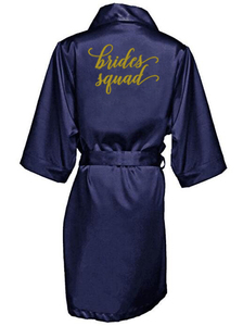 Image 5 - חיל הים כחול חלוק זהב כתיבת קימונו סאטן robe שושבינה אחות של הכלה גלימות חתונה מתנה הטובה ביותר זרוק חינם