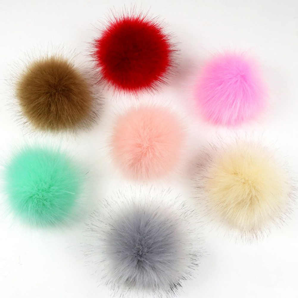 1PC 8cm Faux Fox Fur Pom Pom Ball Hat Clothes Shoes Decoration Pom Pom DIY Crafts Accessories Material Kids Girls Clothes Decor