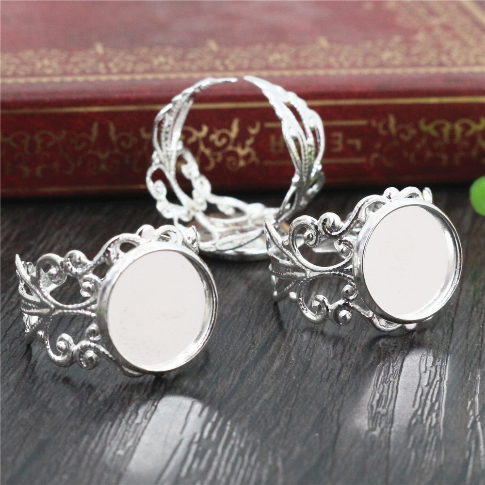 12mm 10pcs Silver Plated Brass Adjustable Ring Settings Blank/Base,Fit 12mm Glass Cabochons,Buttons;Ring Bezels J2-20