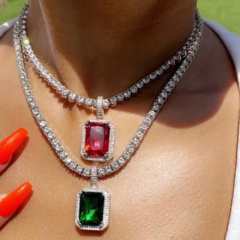 Big Square Green Crystal Pendant Necklace