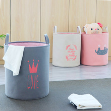 Nordic Foldable Laundry Basket Toy Storage Bucket with Handle Cotton Linen Dirty Clothes Basket Home Sundries Clothes Organizer american country style big size american flag foldable sundries storage bucket cotton and linen laundry bucket