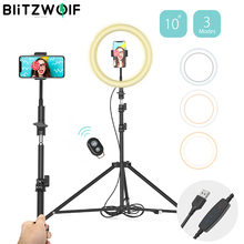BlitzWolf Dimmable LED Selfie Ring Light with Tripod USB Selfie Lights 10inch Ring Lamp Photography lighting for Makeup Youtube