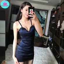 2019 summer new fashion solid color short nightclub womens slim sling bag hip strapless dress