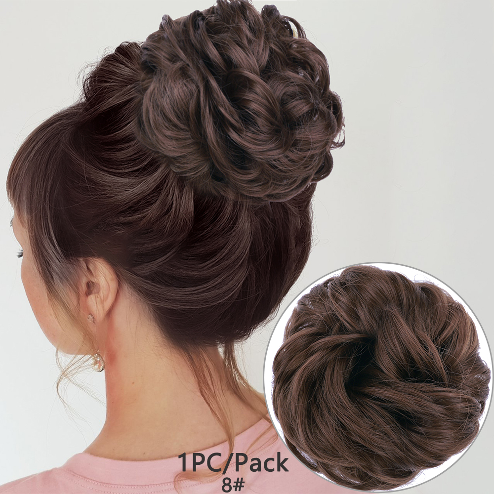 Messy Hair Bun For Women Hairpiece Extensions Synthetic Wig Ring Wrap Chignon Black Brown  High Temperature Fiber