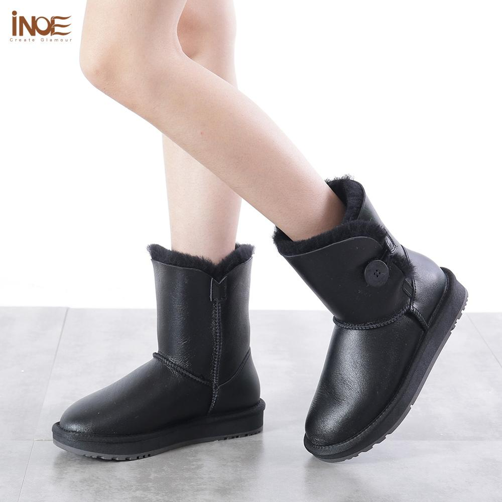 INOE mi mollet imperméable femmes bottes d'hiver avec bouton en peau de mouton en cuir peau de mouton laine fourrure doublée bottes de neige garder au chaud chaussures - 5