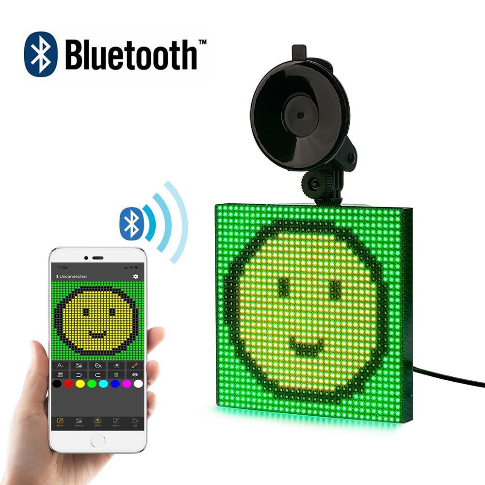 12V Bluetooth sans fil voiture LED signe APP contrôle rvb Programmable défilement Message LED panneau d'affichage écran livraison directe cadeau