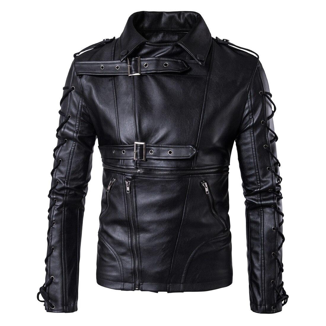 Ouma 2018 New Style Fashion Men Locomotive Leather Coat Decadent Leather Jacket Coat Large Size Leather Coat M-5XL B002