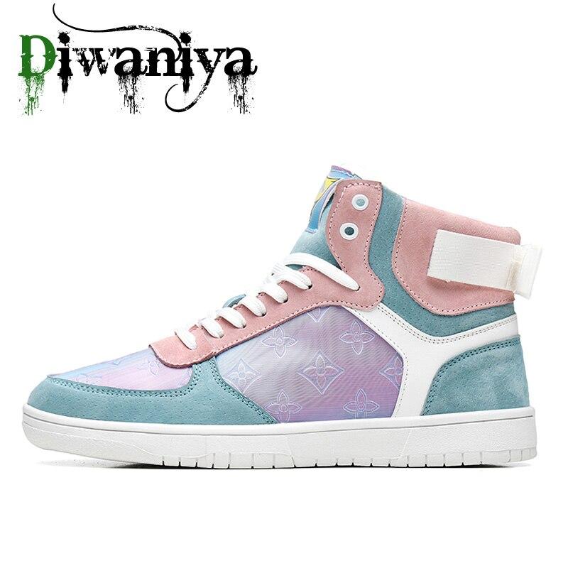 Diwaniya Unisex Skateboarding Shoes Men High Top Sneakers Hip Hop Wearable Sport Ankle Boots Women Autumn Summer Footwear Fluff
