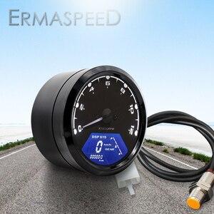 Image 1 - Universal Waterproof LCD Motorcycle Digital Speedometer 12000RPM 8 18V Gear Tachometer Meter Odometer For Yamaha nmax xmax aerox