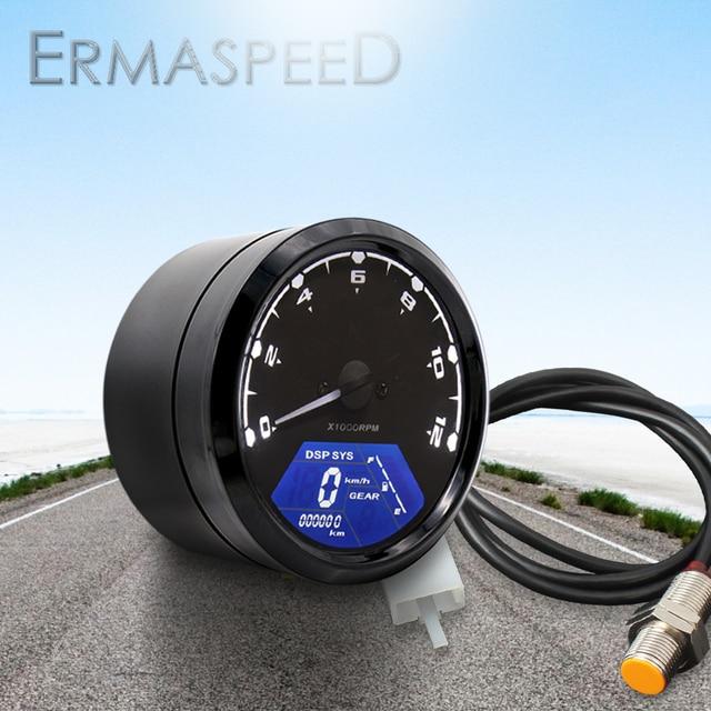 Universal Waterproof LCD Motorcycle Digital Speedometer 12000RPM 8 18V Gear Tachometer Meter Odometer For Yamaha nmax xmax aerox