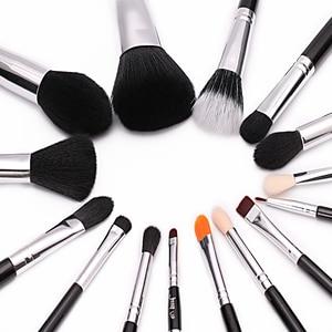 Image 3 - Jessup Pro 15 unids Maquillaje Pinceles Set Negro/Plata Cosmética maquillaje Herramienta Pincel Polvos Sombra de Ojos Delineador de Labios belleza