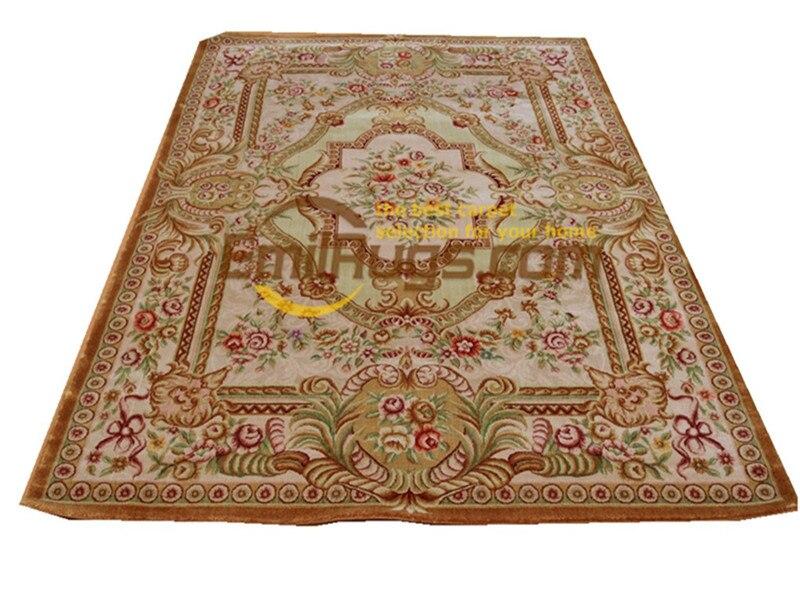 Conception florale Pure laine tapis noué à la main tissé à la main Savonnerie zone tapis Folk tapis canapé sol utilisation Antique