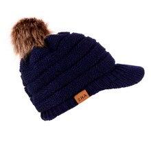 Взрослые женщины мужчины вязаная крючком зимняя шапка вязаная шляпа, бейсбольная кепка Hairball теплая шапка A129