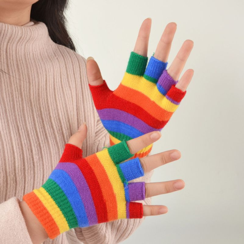Adult Kids Rainbow Stripes Short Gloves Fingerless Wrist Length Party Mittens DXAA