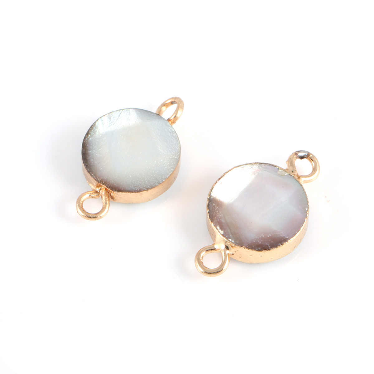 ตัวเชื่อมต่อธรรมชาติรอบ Pearl SHELL PURE NATURAL Abalone SHELL ซองจดหมาย CONNECTOR แหวนคู่จี้ DIY Trim จี้ 10x18 มม.